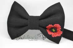 Poppy Bow tie Men's bow tie Remembrance Day Bow tie by SewMiracle