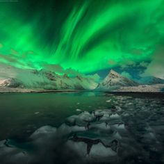 "Alien Aurora - Amazing aurora over Fredvang fjord, Lofoten photo workshop with <a href=""http://danielkordan.com/"">DanielKordan.com</a>"
