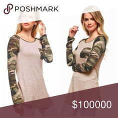 Darling mocha Camo top! Long sleeves with side pocket! Adorable baseball tee! Nice fit- hint of stretch! Tops Tees - Long Sleeve