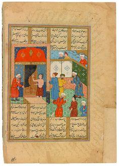 Majnūn Grasps the Door Knocker of the Kaaba Niẓāmī Ganjavī (ca. 1141–1209), Khamsa (Quintet), in Persian. Persia, Qazvin, written 1549–51, illustrated ca. 1579 by Siyāvush the Georgian and his workshop for ˓Alī Khān (Beg Turkman). 143 x 146 mm. Bequest of Belle da Costa Greene, 1950.; MS M.836, fol. 279v. The Morgan Library & Museum