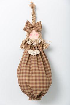 Plastic bag dispenser grocery bag doll by CountryCutieBagDolls