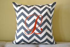 Monogrammed Chevron 16 x 16 Pillow Cover - Machine Embroidered Monogrammed Throw Pillow