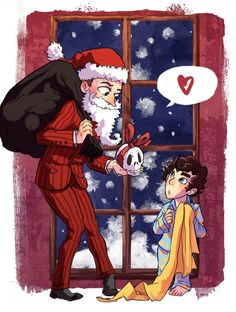 After catching a glimpse of Mycroft in the Santa suit, Sherlock is convinced being Father Christmas is his brother's real job. Why he's away so much, why he's so busy and important. And he steals cookies. This is still an unforgivable sin, but a little more forgivable now. - traumachu