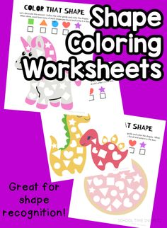 Keep little ones busy with these worksheets that reinforce color and shape recognition! Just print and go! Preschool Learning Activities, Play Based Learning, Preschool Worksheets, Number Formation, Free Shapes, Learning Colors, Fun Math, Fine Motor Skills, Early Childhood
