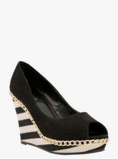 Chain Trim Striped Wedge Peep-Toe Shoes (Wide Width)