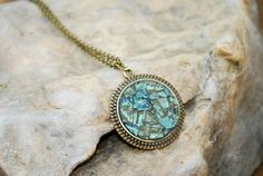 Green Mosaic Necklace Round Pendant by GreenStreetMosaics on Etsy