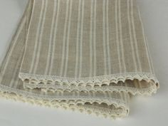 Natural linen tea towels dish towels hand towels set of 2 striped gray ivory organic linen and lace towels