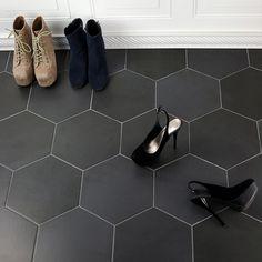 Ivy Hill Tile Langston Hexagon x Porcelain Field Tile in Dark Gray Black Hexagon Tile, Honeycomb Tile, Black Tiles, Large Hexagon Floor Tile, Entryway Flooring, Kitchen Flooring, Entryway Tile Floor, Entry Tile, Dark Kitchen Floors