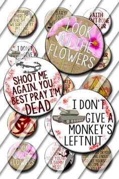 Zombie Theme Bottle Cap Images 1 inch circle by ItsYourPartyPinit