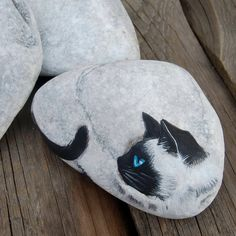 Pets Home : Cat painted rock stone your pet home decor Painted stone rock cat Home decoration rock stone Cat Rock Painting Patterns, Rock Painting Designs, Animal Magazines, Art Pierre, Rock And Pebbles, Pet Rocks, Hand Painted Rocks, Pet Home, Rock Crafts
