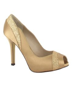 Look what I found on #zulily! Sand Shimmer Peep-Toe Pump #zulilyfinds