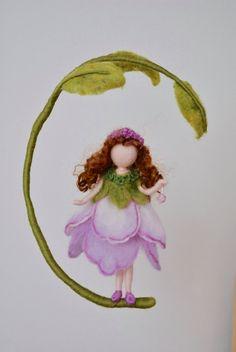 Purple Flower Fairy Nursery Mobile Waldorf inspired  by MagicWool