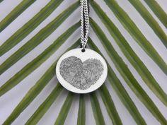 Custom Fingerprint Heart Necklace  Custom Fingerprint Jewelry