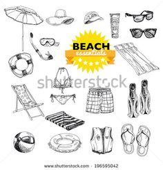 Hand drawn vector illustration. Beach essentials set. Vintage. Sketch.  - stock vector
