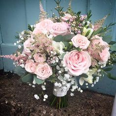 Wedding Goals, Wedding Bride, Wedding Venues, Wedding Planning, Rose And Gypsophilia Bouquet, Pink Bouquet, Deco Pastel, Deco Floral, Flower Decorations