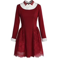Chicwish Cherished Lace Paneled Dress in Wine ($62) ❤ liked on Polyvore featuring dresses, red, lace inset dress, lace insert dress, peter pan collar dress, wine red dress and red cocktail dress