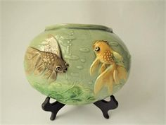 """Antique Majolica Wall Pocket Shaped As A Fish Bowl With Black & Gold Moor Goldfish """"We Do Combine Shipping"""" Chinese Wall, Chinese Bamboo, Chinese Brush, Wall Pockets, Goldfish, Black Gold, Art Deco, Carving, Pottery"""