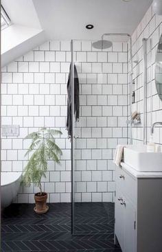 my scandinavian home: 10 Ways To Turn a Pokey Top Floor Flat Into A Swoon-Worthy., my scandinavian home: 10 Ways To Turn a Pokey Top Floor Flat Into A Swoon-Worthy Living Space / black and white bathroom Modern Bathroom Tile, Bathroom Floor Tiles, Bathroom Wall Decor, Bathroom Interior Design, White Bathroom, Bathroom Ideas, Modern Interior, Bathroom Lighting, Shower Ideas