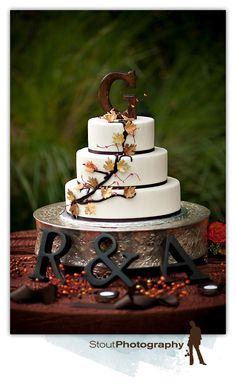 Fall Branch and Leaves Ivory Wedding Cake Ivory Wedding Cake, Wedding Cakes, Wedding Venues, Wedding Ideas, Private Estate Wedding, Wedding Decorations, Van, Leaves, Desserts