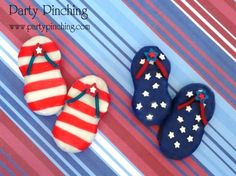flop cooki, cooki dip, red white and blue cookies, 4th of july decorates cookies, flip flop