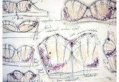 Fashion Sketchbook - lingerie design sketches; watercolour fashion drawings; contour fashion portfolio // Bryony Bennett