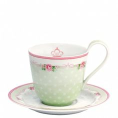 New GreenGate Stoneware Cup And Saucer Amelie White H 9 cm