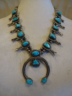 Classic Signed Vintage NAVAJO Sterling Silver and Turquoise SQUASH Blossom Necklace