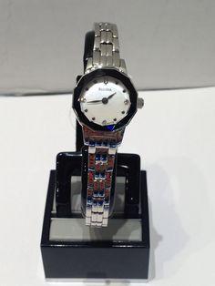 Ladies Bulova white with black rim dial and crystals Black Rims, Bulova, Watches, Crystals, Lady, Leather, Accessories, Fashion, Moda