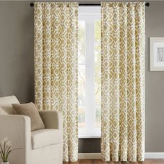 Yellow or Green Add texture to your window treatments with this elegant curtain panel from Madison Park. It comes unlined, which allows plenty of natural light to filter in, and it comes in three different fashion colors to coordinate with your room.