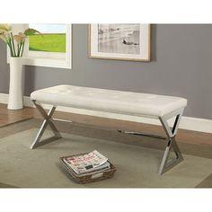 Furniture of America Enya White Large Bench CM-BN6912WH-L