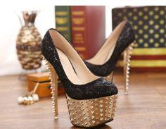 zapatos de tacon estilo elegante y hermoso con remache de color negro