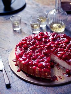 Baked cranberry cheesecake. Cheesecake is a favourite at any time of year, but the cranberries in this version make it a perfect Christmas treat | Jamie Magazine