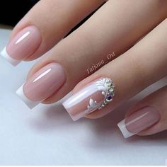Beautiful Spring Nail Art Designs 2020 Here are 130 of the most popular type of cute spring nail designs. Classic options spa manicure cut and European manicure they are all used Bride Nails, Wedding Nails, French Nail Designs, Nail Art Designs, Bridal Nails Designs, Perfect Nails, Gorgeous Nails, French Nails, Cute Nails