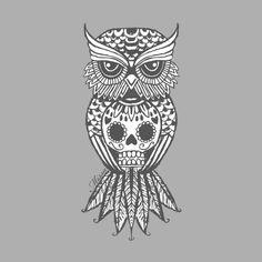 sugar skull and owl                                                                                                                                                                                 Más