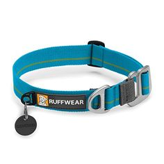 Ruffwear  Crag Dog Collar Metal Hook  Soft Durable Webbing Baja Blue Large >>> Read more reviews of the product by visiting the link on the image.(This is an Amazon affiliate link and I receive a commission for the sales)