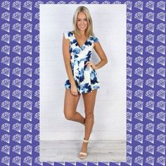 Selling this HP 🎉Blue floral romper zip back 1 Sm, 2 Md, 1 Lg on Poshmark! My username is: tsouth84. #shopmycloset #poshmark #fashion #shopping #style #forsale #Boutique #Dresses & Skirts