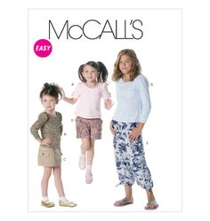 McCall's Patterns Children's/Girls' Tops, Skirt, Shorts and Pants, Size CHJ - deal advertising Sewing Patterns For Kids, Mccalls Sewing Patterns, Warm Coat, Summer Wear, Birthday Shirts, Shirts For Girls, Short Skirts, Button Up Shirts, Kids Outfits