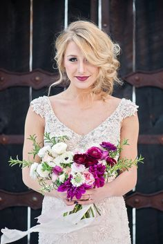 Cool off with a little winter-wedding inspiration. This beautiful styled shoot features a sparkling blush wedding dress by #SotteroandMidgley and plenty of jewel tones. #winterwedding #vintagewedding
