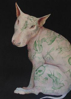 Original Watercolour Painting Dominic Murphy Tattooed English Bull Terrier Weird