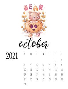 Cool Calendars, Cute Calendar, Print Calendar, Calendar Design, Monthly Calendars, Google Calendar, October Calendar, 2021 Calendar, Printable Blank Calendar
