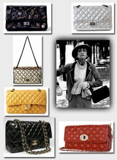 A collage of the classic Chanel 2.55 Handbag, including a photo of its creator, Coco Chanel. The bag is so named because it was created in 1955.
