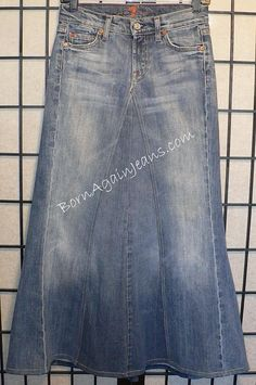 Born Again Jeans skirt  www.BornAgainJeans.com  Custom Modest Denim Jean Skirts  I wonder if they have non-faded ones...