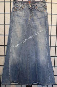 Born Again Jeans skirt  www.BornAgainJeans.com  Custom Modest Denim Jean Skirts