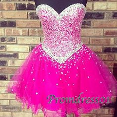 2015 gorgeous sparkly sweetheart strapless rose tulle short prom dress with sequins, homecoming dress, evening dress, ball gown, cute+dresses+for+teens #promdress