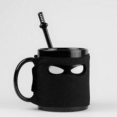 Ninja Mug – Includes Ninja Samurai Spoon & Ninja Star Coaster  Even silent assassins need a tea break – I'll take mine with 2 sugars and pain.
