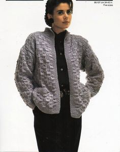 Vintage womens jacket knitting pattern pdf chunky by Hobohooks