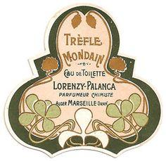vintage perfume label images | Vintage French Art Nouveau Perfume Label Trefle Mondain | eBay