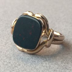Georg Jensen Ring No. 160 in 18K Rose Gold and Bloodstone