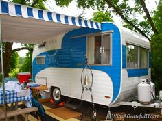 Cute blue & white striped vintage camper - tiny trailer - caravan <O> I want one of these so bad!
