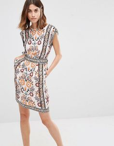 Image 1 of Warehouse Placement Print Sleeveless Dress